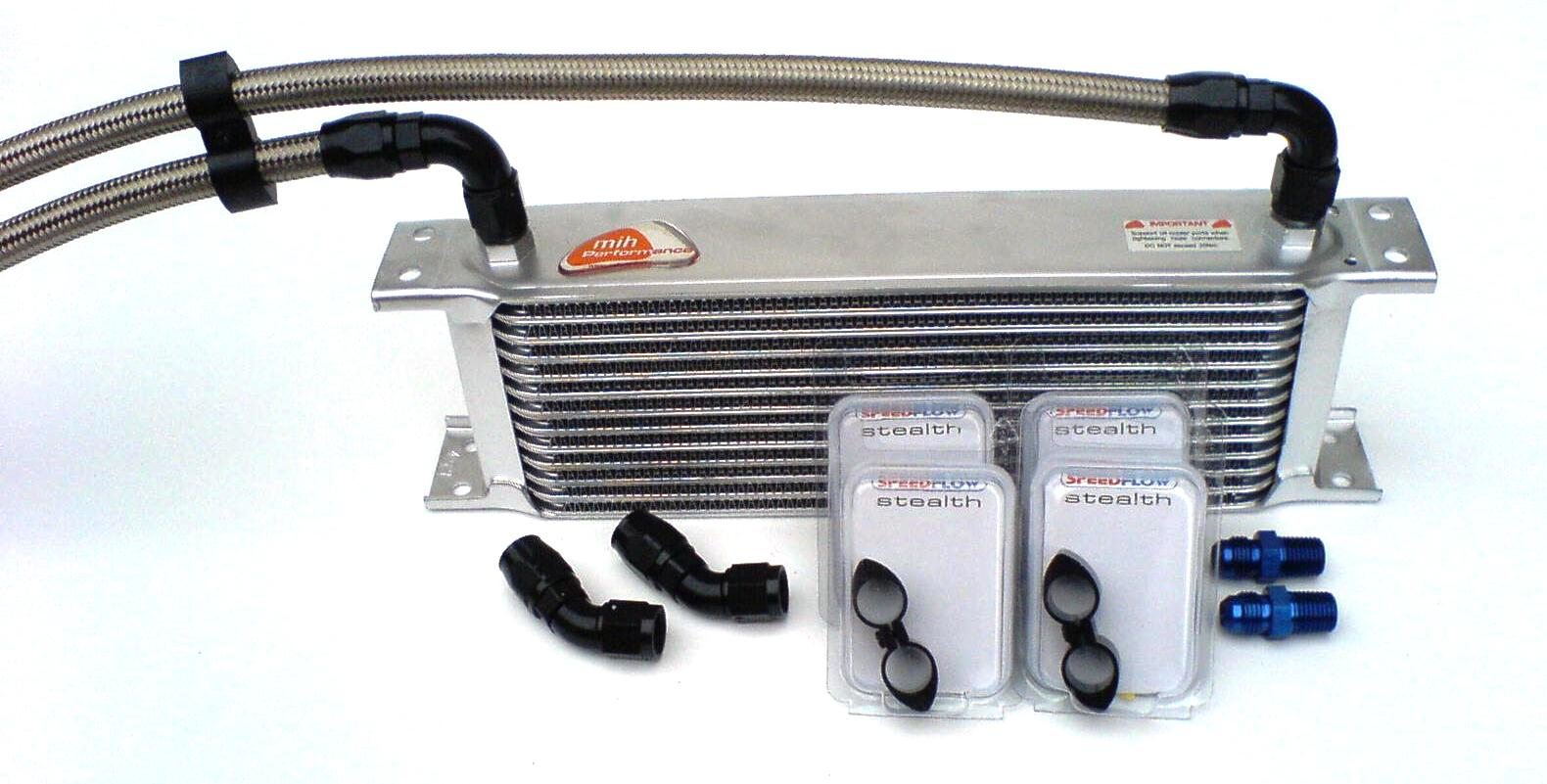 Transmission Fluid Cooler : Transmission oil cooler kit with black hose ends speedflow