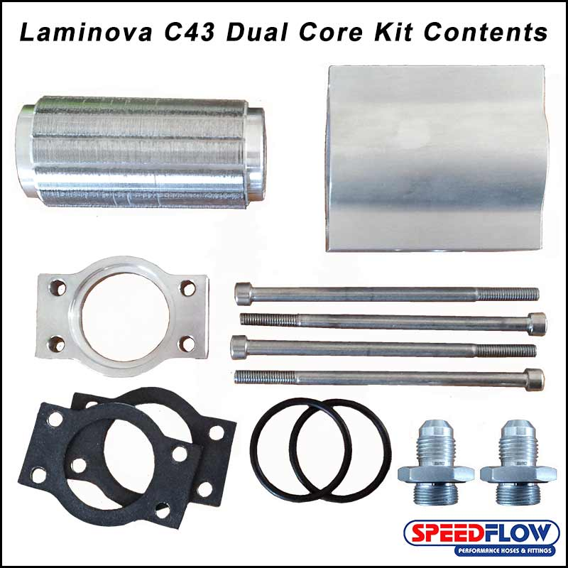 Parts of the dual core laminova oil cooler